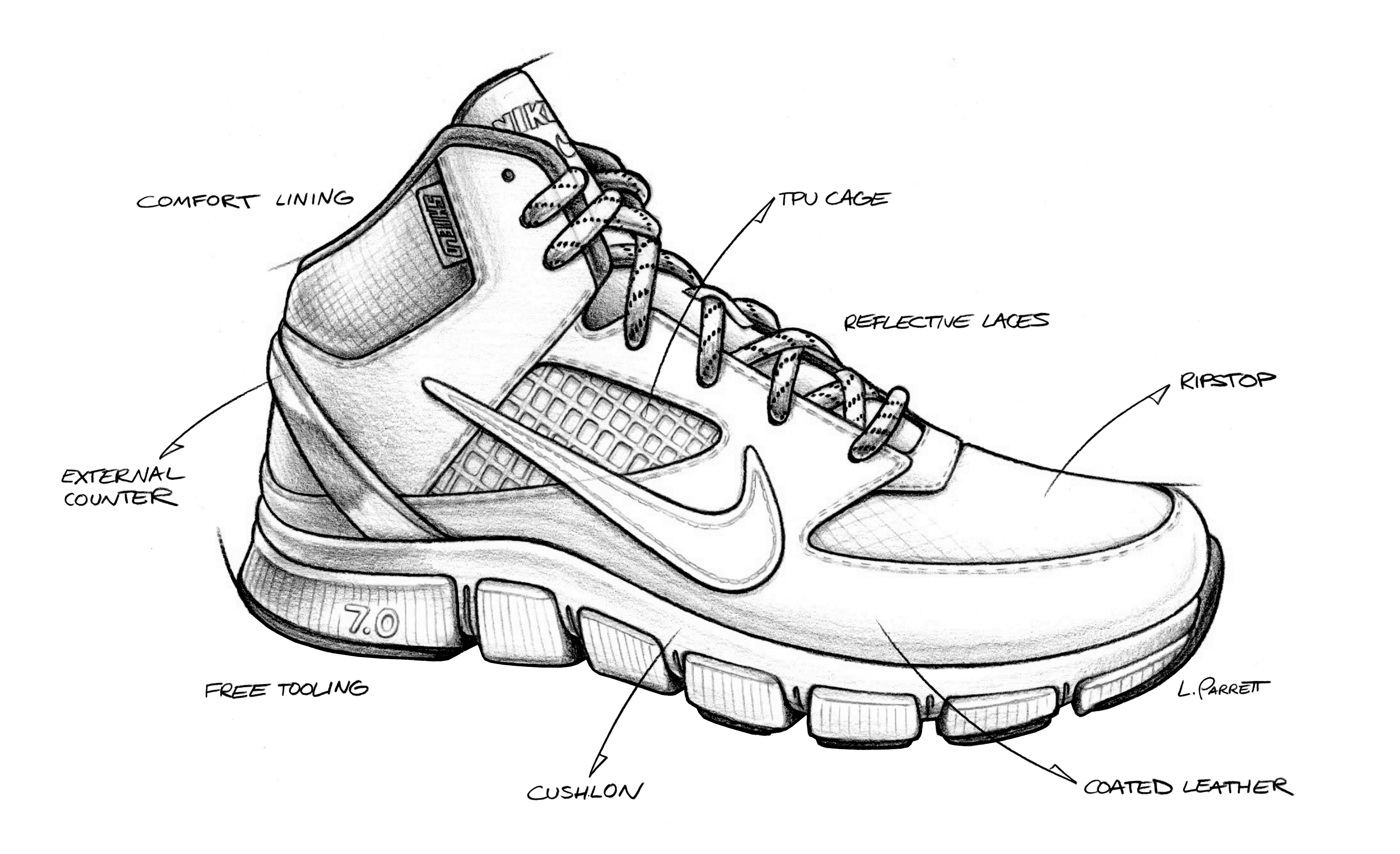 Drawn shoe nike trainer #2