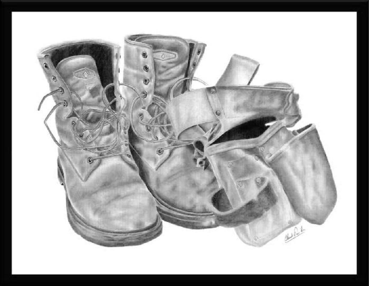 Drawn shoe old pair Of this pair Like Pencil