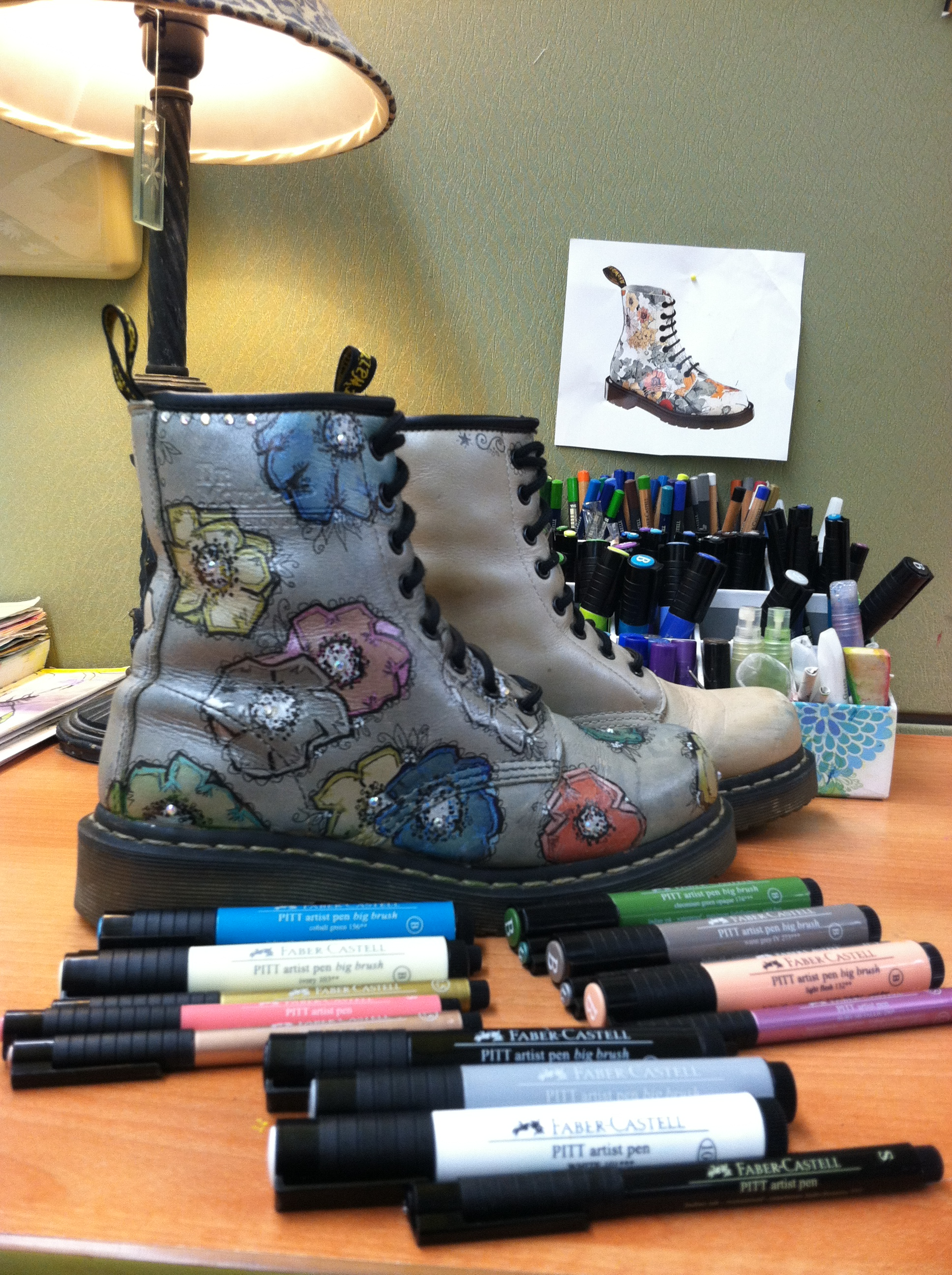 Drawn shoe old pair Leather upcycled an old Martens
