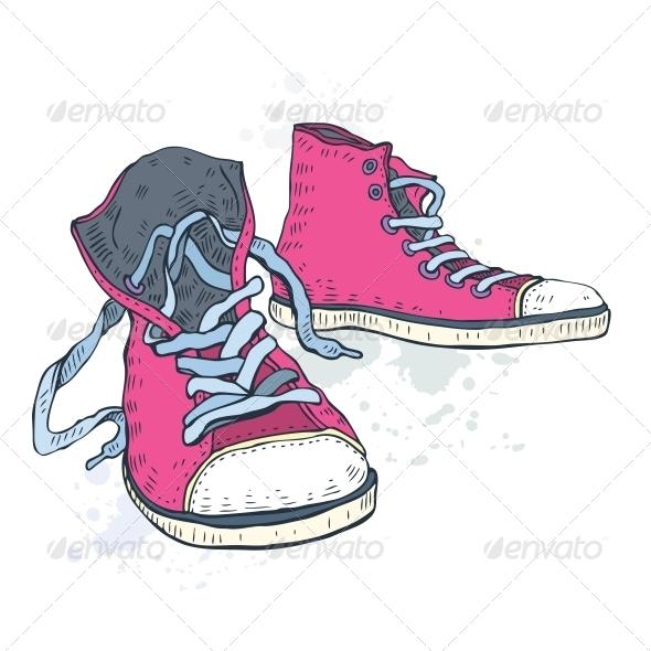 Drawn shoe old shoe #9