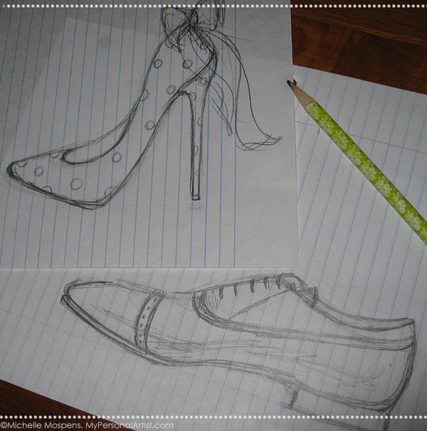 Drawn shoe pencil sketch Pencil shoes sketch Unique