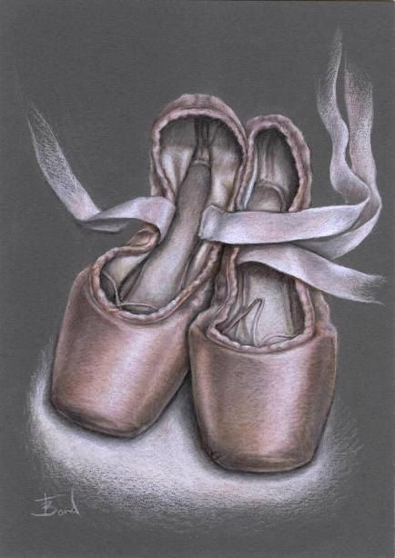 Drawn shoe pointe shoe Life drawing drawing Pointe 31