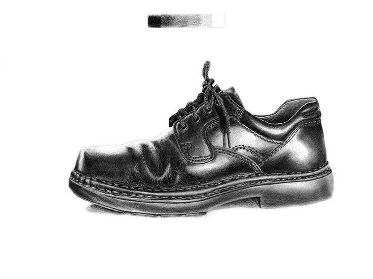 Drawn shoe realistic Images Pencil section about the