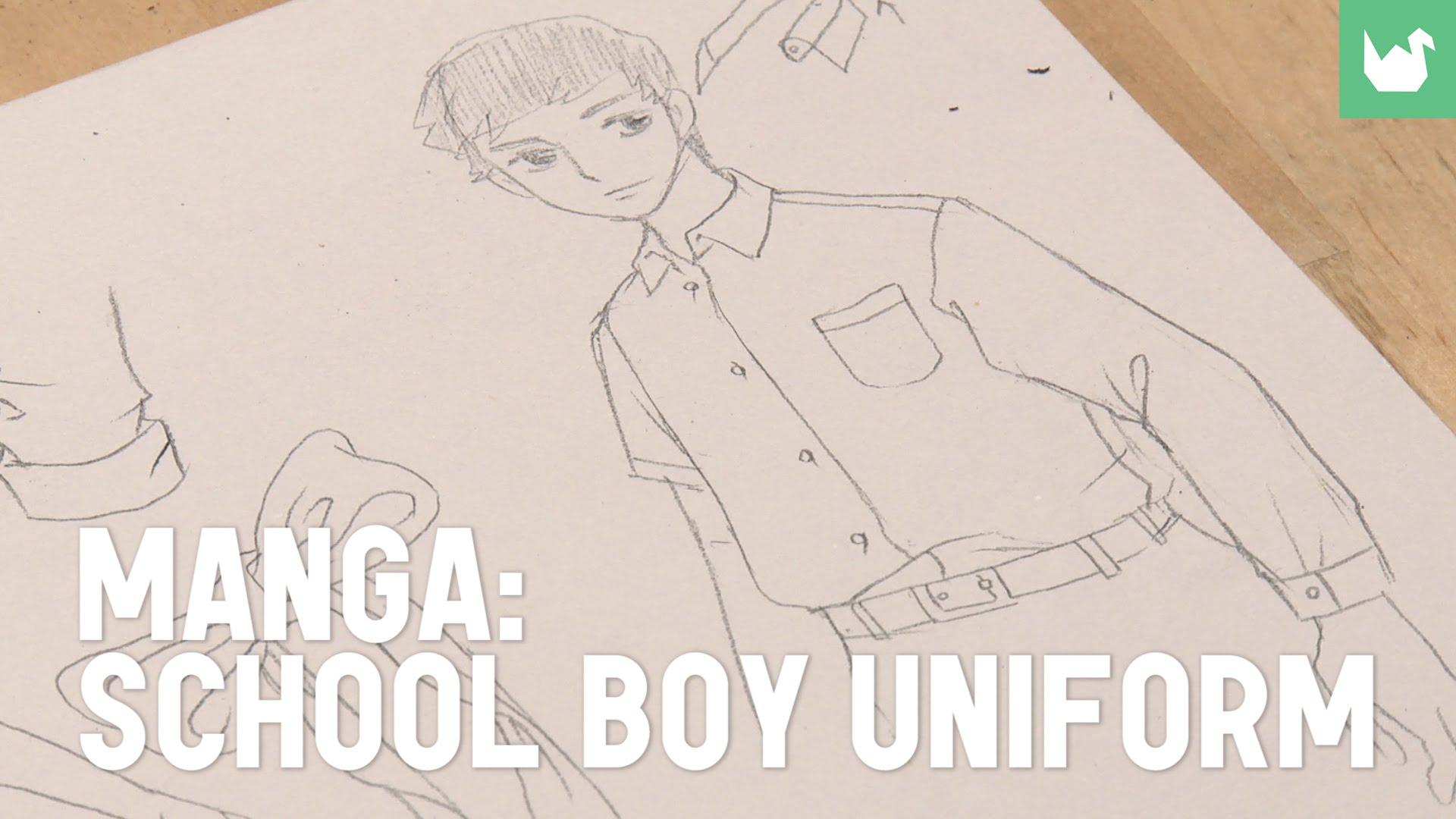 Drawn shoe school uniform A school boy school uniform