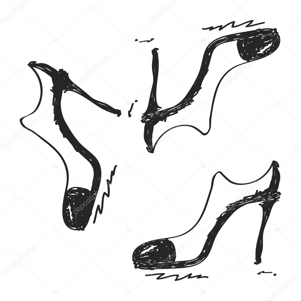 Drawn shoe simple Of Vector — doodle Vector