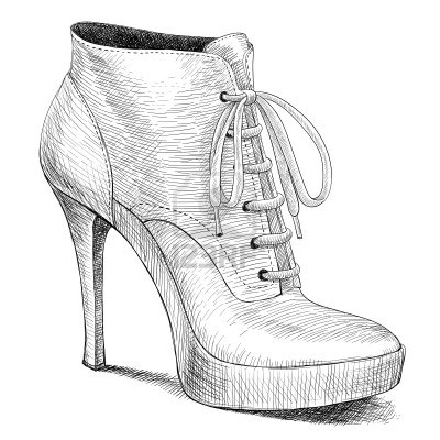 Drawn shoe sketch heel High shoes vector of of