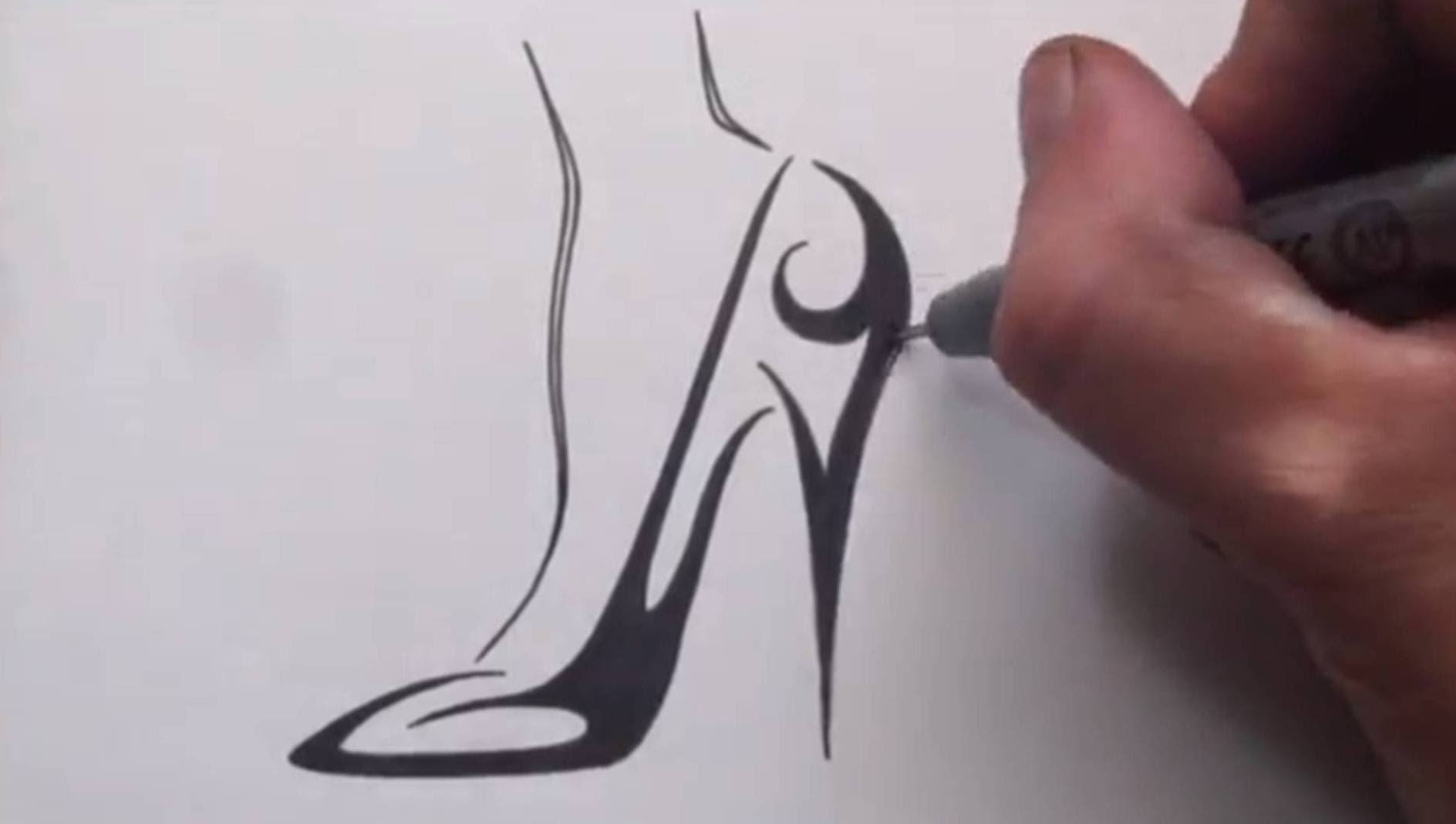 Drawn shoe tribal design Draw Tattoo How High SuperTribalTattoos?