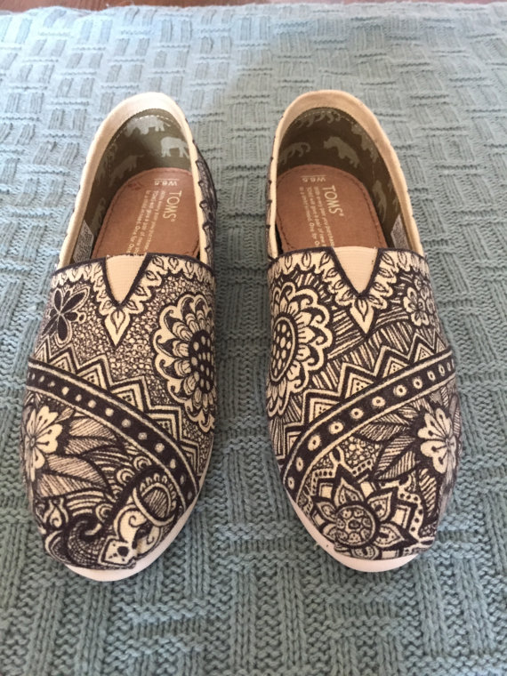 Drawn shoe tribal design TOMS TOMS Tribal Hand Drawn