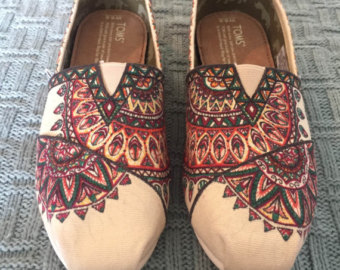 Drawn shoe tribal design TOMS TOMS Color Hand Drawn