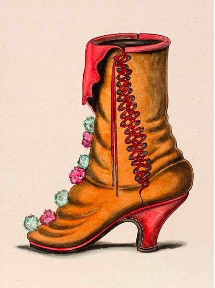 Drawn shoe vintage shoe #11