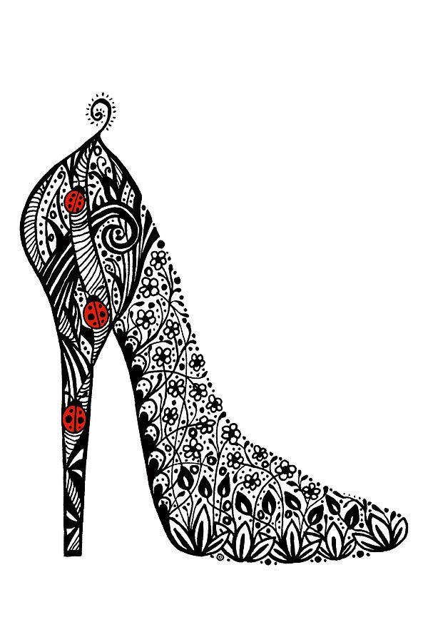 Drawn shoe zentangle #13