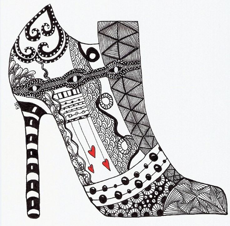 Drawn shoe zentangle #11