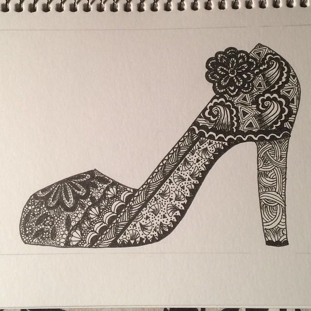 Drawn shoe zentangle #9