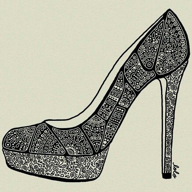 Drawn shoe zentangle #12