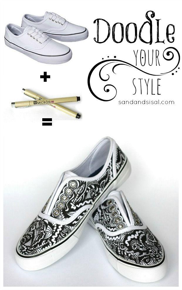 Drawn shoe zentangle #6