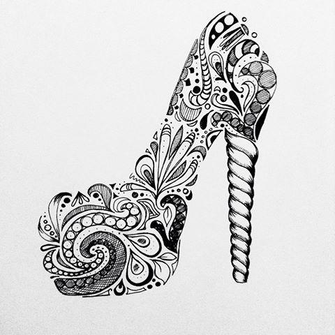 Drawn shoe zentangle #10