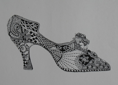 Drawn shoe zentangle #1