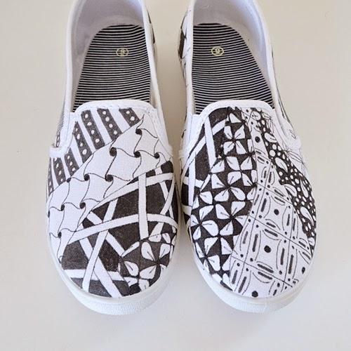 Drawn shoe zentangle #2