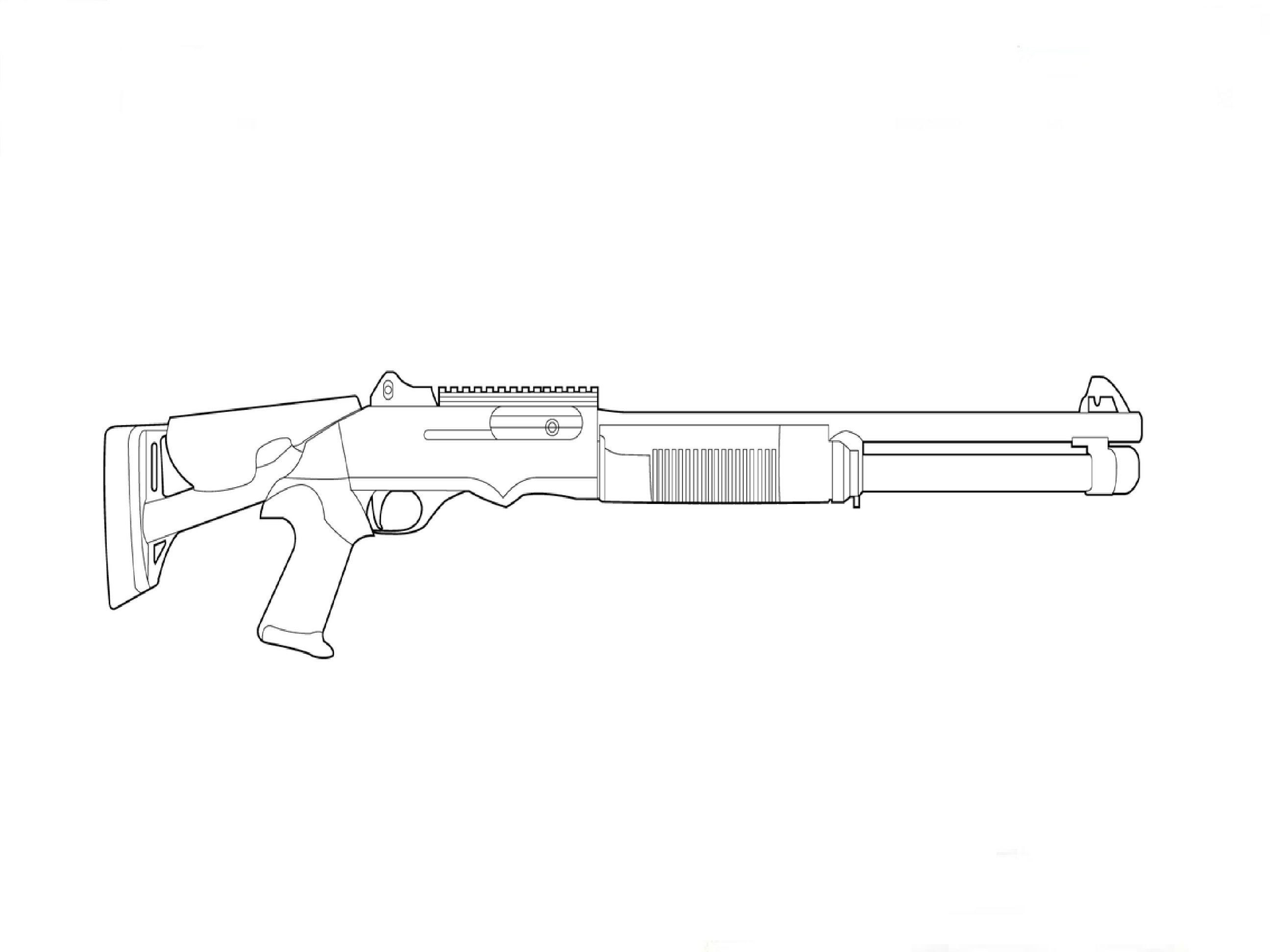 Drawn shotgun Benelli нарисовать Как shotgun to