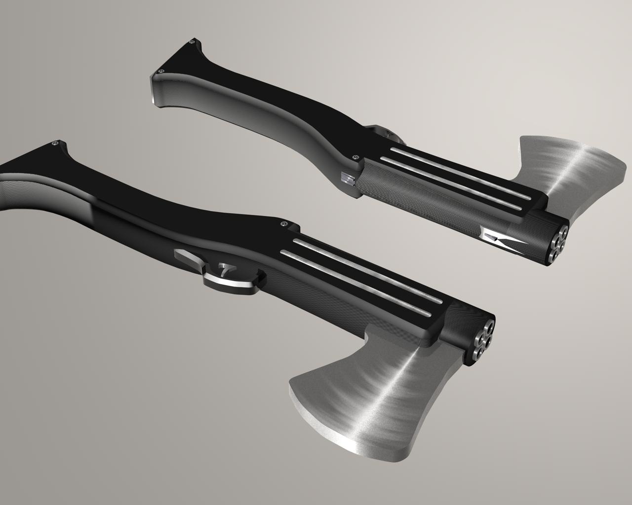 Drawn shotgun axe Quad Axe shield Axe Shotgun