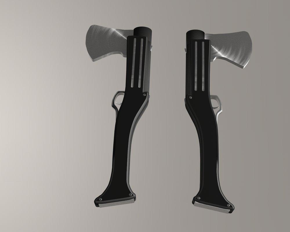 Drawn shotgun axe Another shield Barreled : Shotgun