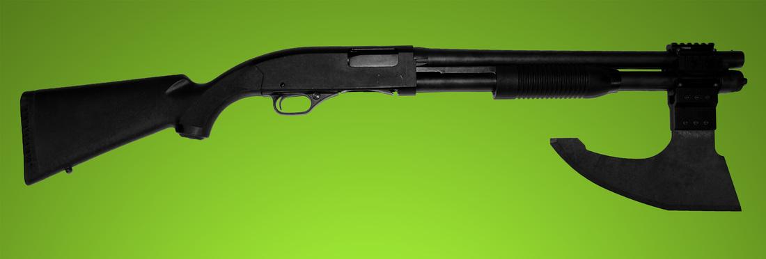 Drawn shotgun axe Gun Rail Axe Blade Axe
