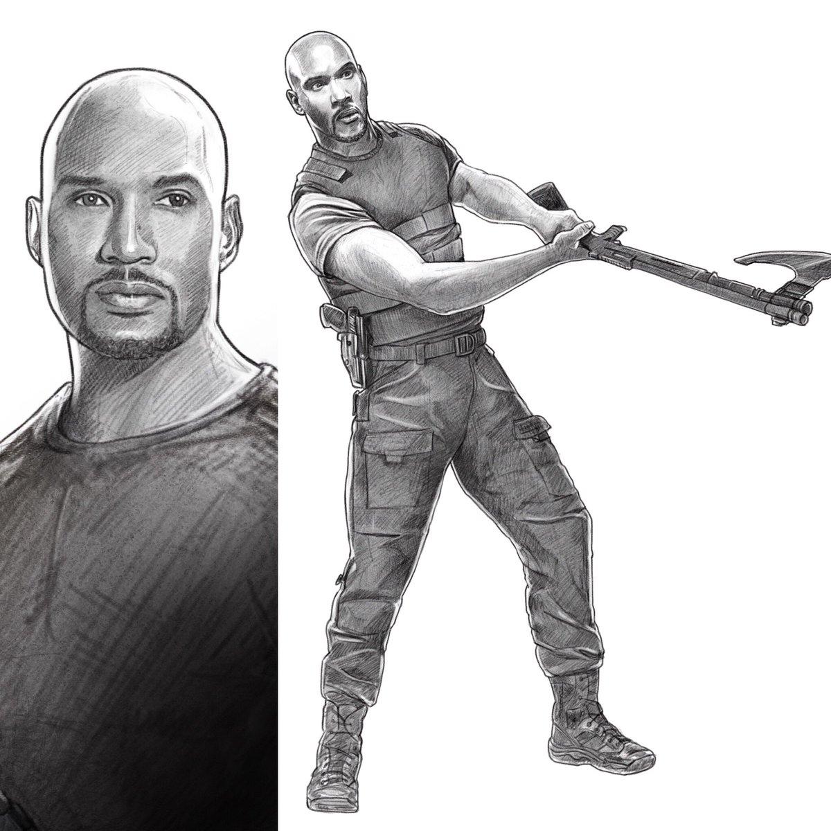 Drawn shotgun axe Shotgun I can #henrysimmons @clarkgregg