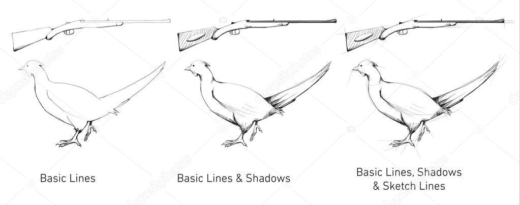 Drawn shotgun bird hunting Gun Photo © pheasant hunting
