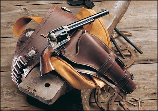 Drawn shotgun cowboy gun In Shooting Getting Revolver Action