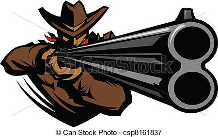 Drawn shotgun cowboy gun Csp8161837 of Shotgun Aiming Mascot