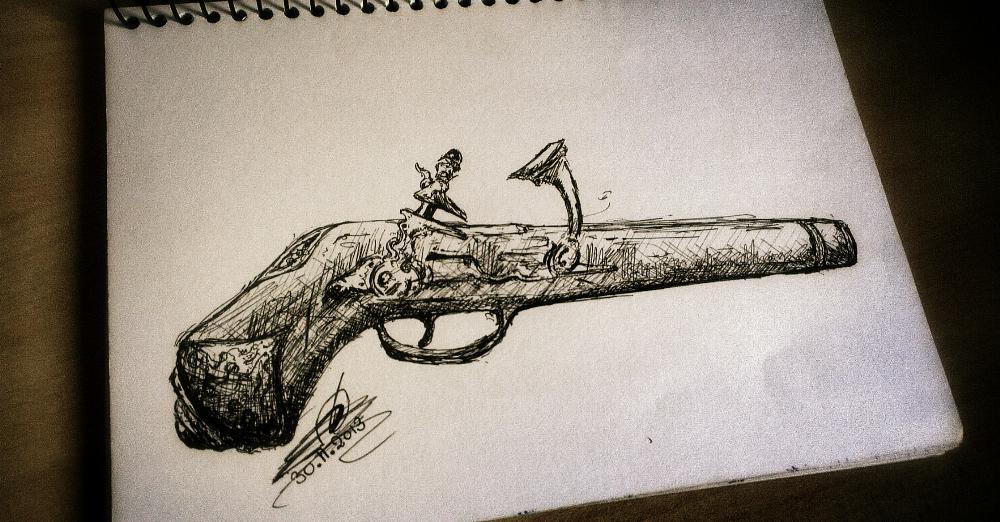 Drawn shotgun old gun Gun shotgun drawing Old Amit