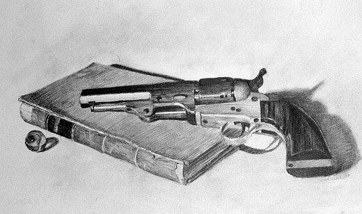 Drawn shotgun pencil H Mark Index Webster's Art