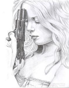 Drawn shotgun pencil How Etsy Draw Girl Art
