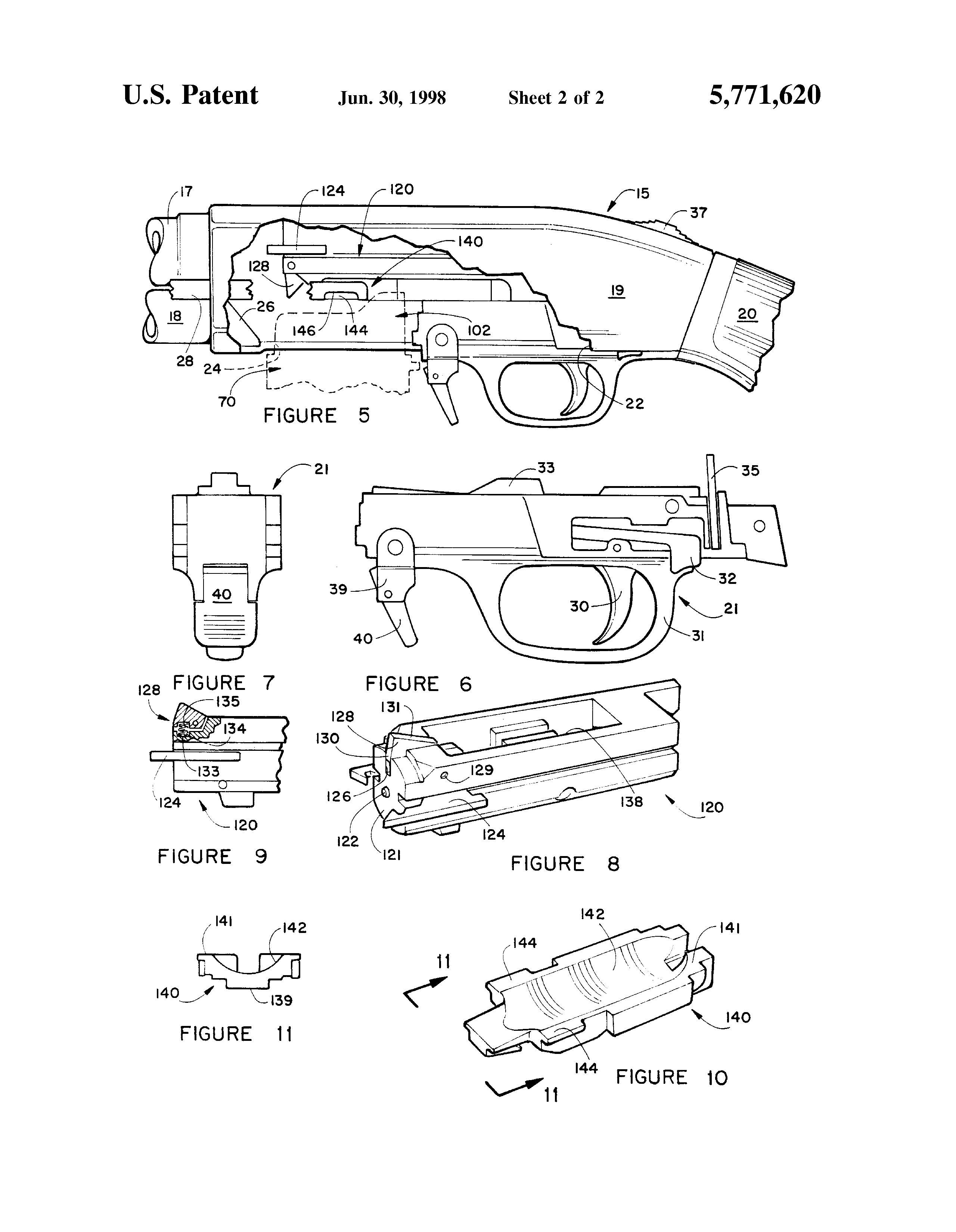 Drawn shotgun pump action Drawing  pump Patent loaded