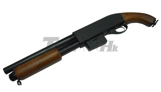 Drawn shotgun pump action Off character End off of