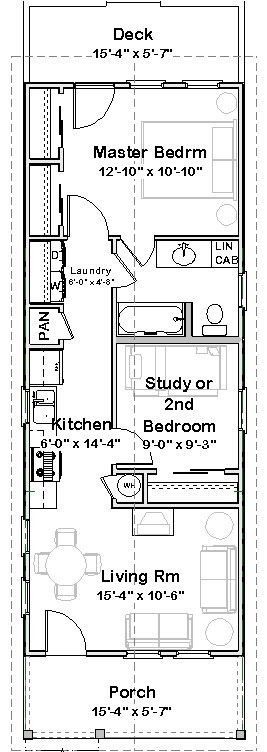Drawn shotgun small House NOLA Shotgun on Plan