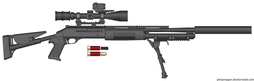 Drawn shotgun sniper rifle M4 by M4 Benelli Shotgun