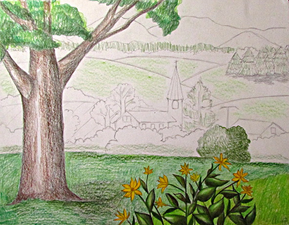 Drawn scenic color Landscape Color Pencil Family Color