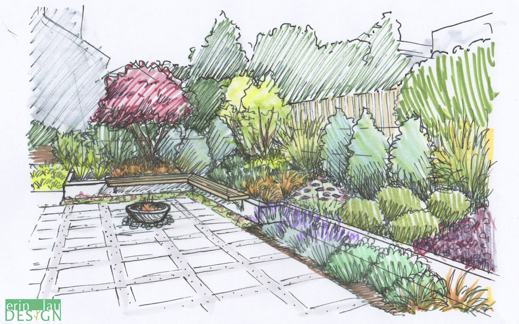 Drawn amd garden Short Creation: in Bench Patio