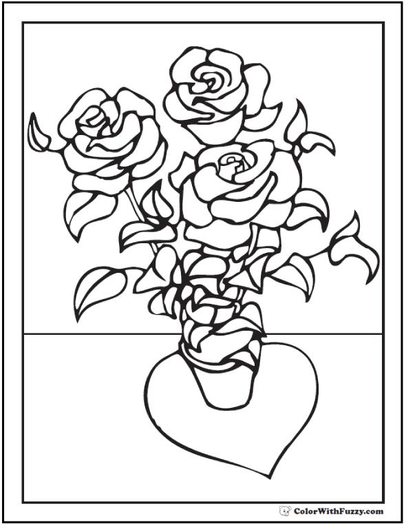 Drawn rose bush shrub Coloring PDF 73+ Rose Printables