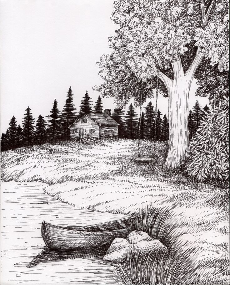 Drawn scenic creative Ink Wash Landscape Ink Images