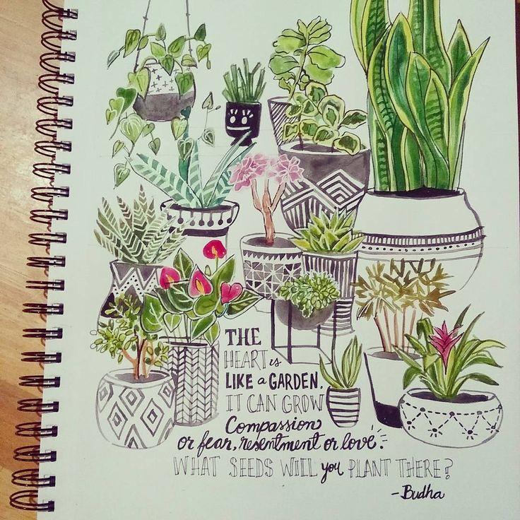Drawn pot plant creative The drawing ideas Plant 25+