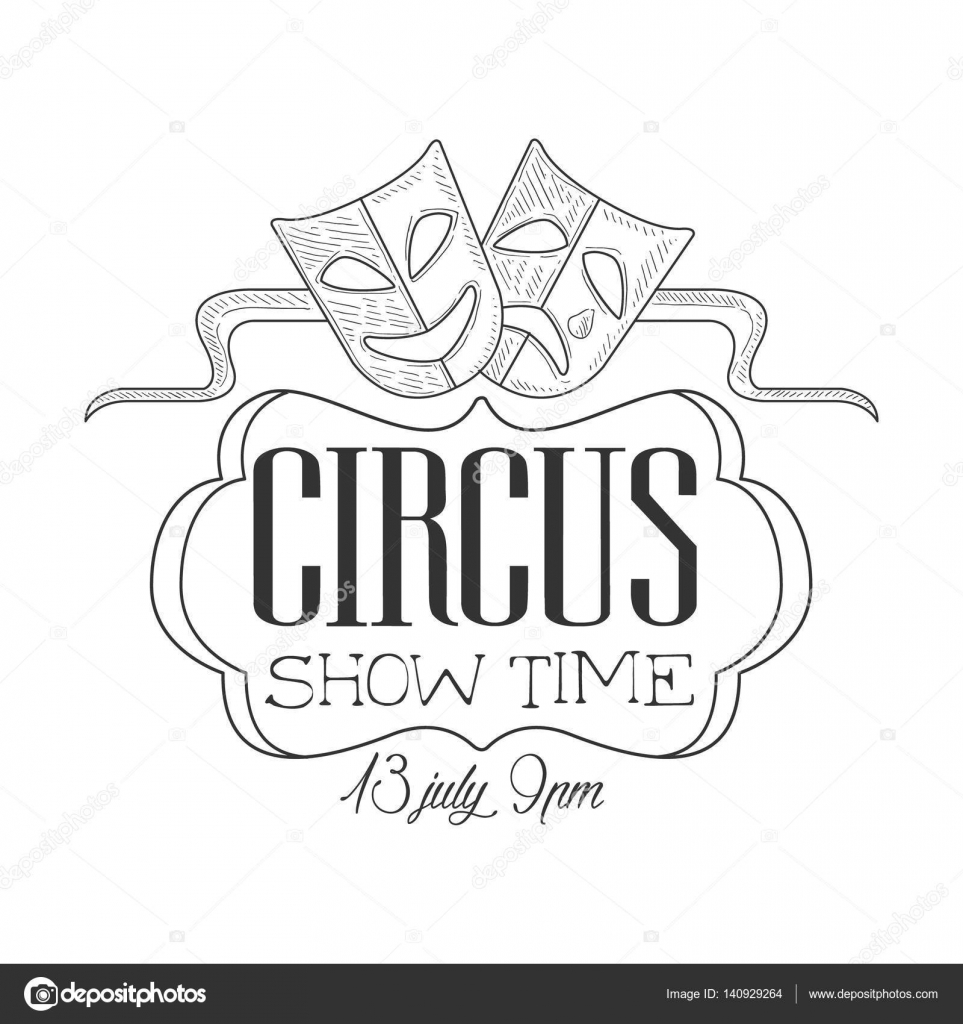 Drawn sign circus Masks In Drawn Hand Promotion