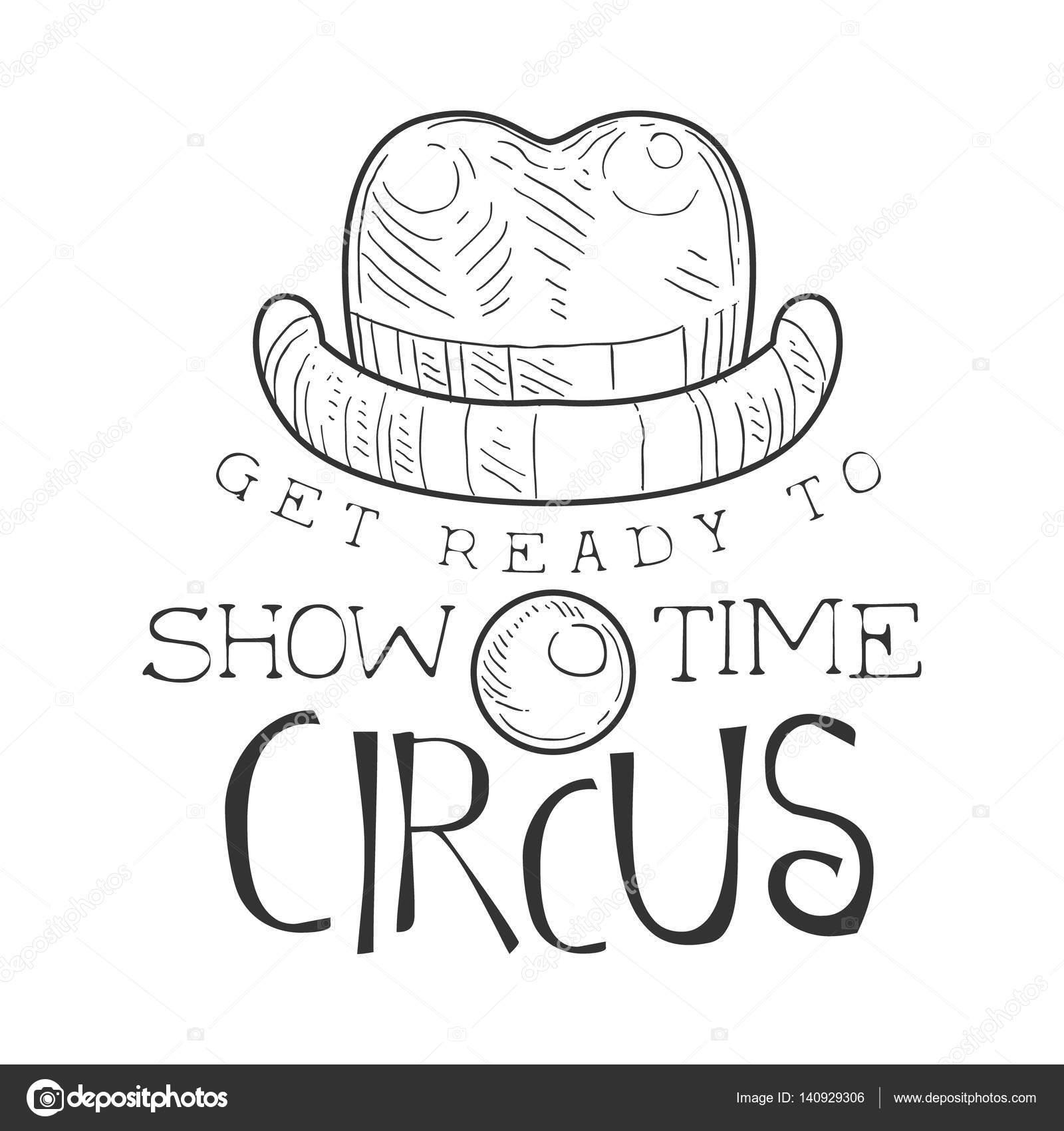Drawn sign circus With Clown Nose Drawn Circus