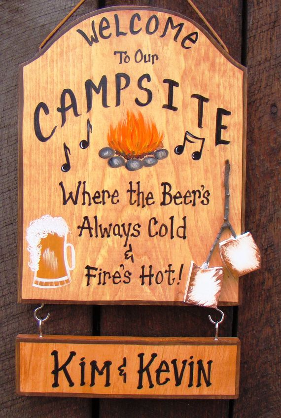 Drawn sign custom Beer Sign on Campsite Custom