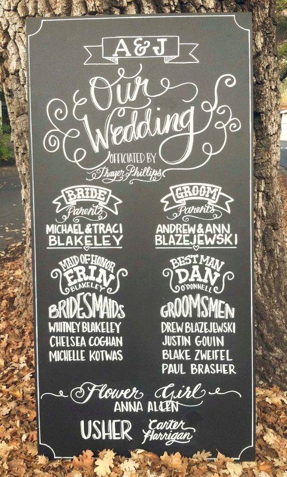 Drawn sign custom Chalkboard Drawn Ceremony Chalkboard Sign