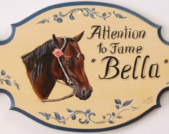 Drawn sign horse stall Stall horse plaque Friesian Etsy