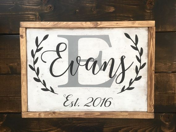 Drawn sign last name Wood stained last sign with