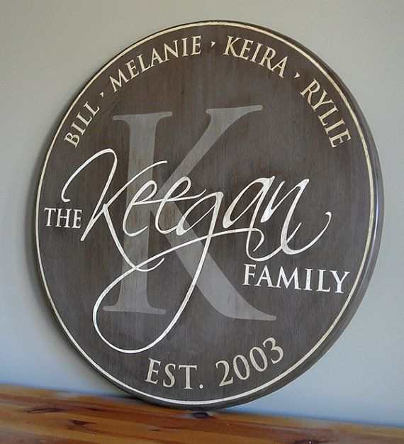 Drawn sign last name Family Round Custom Gift Sign
