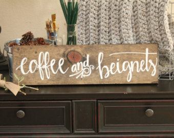 Drawn sign new orleans Etsy Coffee Beignets New wedding
